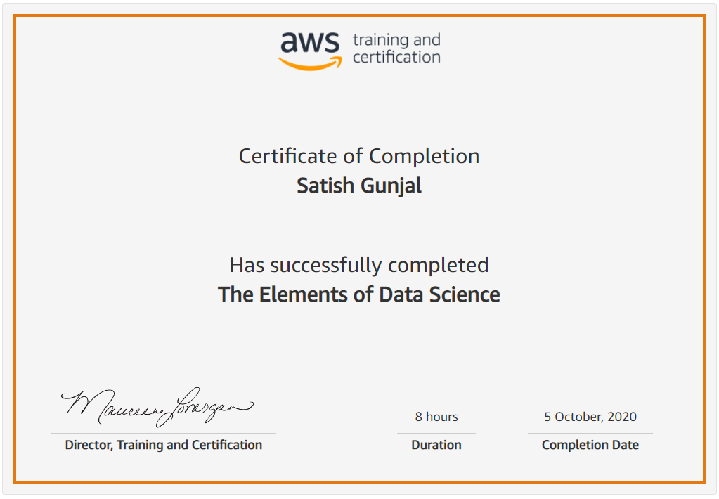 The Elements of Data Science Certificate