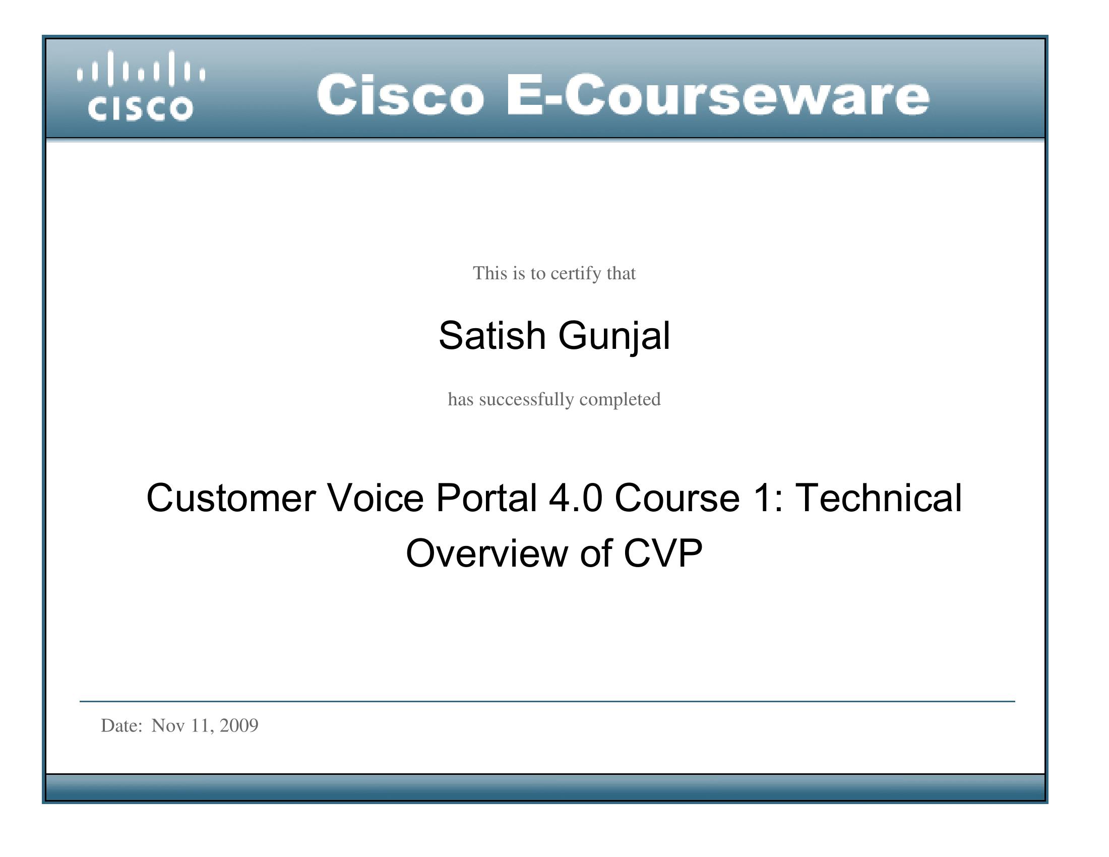 CVP 4.0 Course 1 Technical Overview of CVP