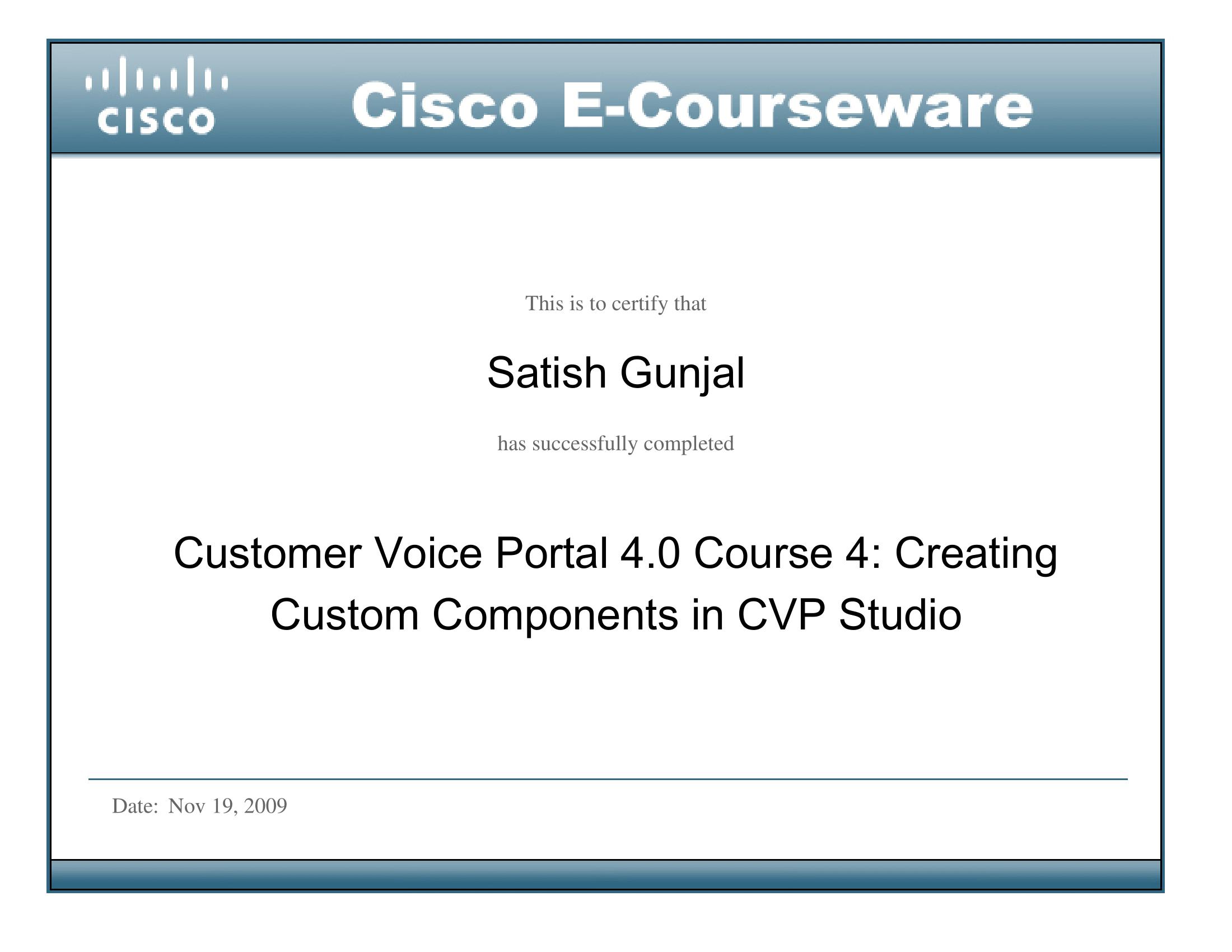 CVP 4.0 Course 4 Creating Custom Components in CVP Studio