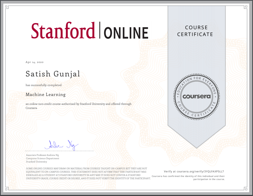 Coursera Machine Learning by Andrew Ng