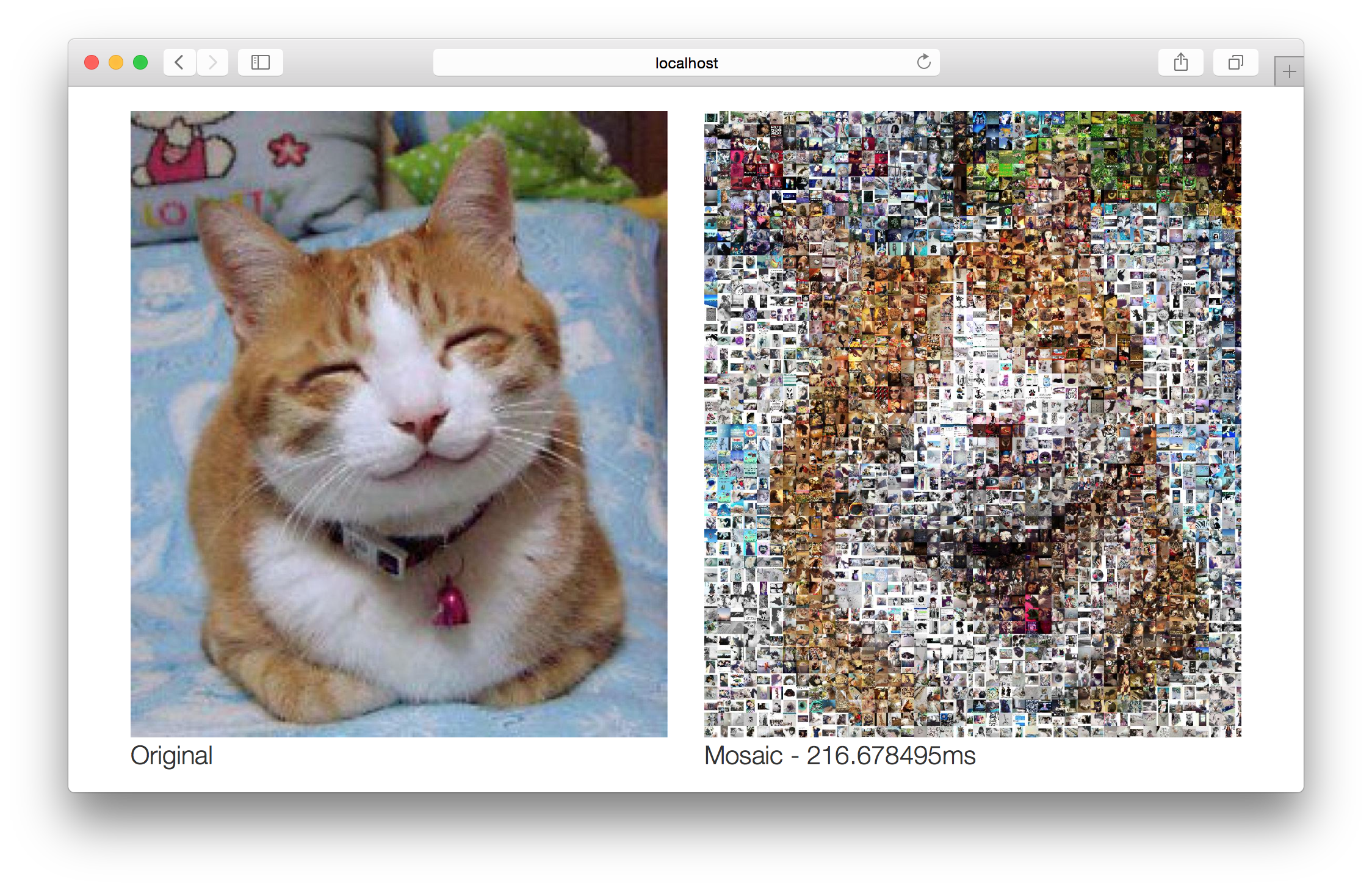 Figure 5 – Photo mosaic web application with concurrency and 8 CPUs