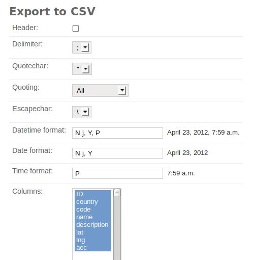 export to csv options panel