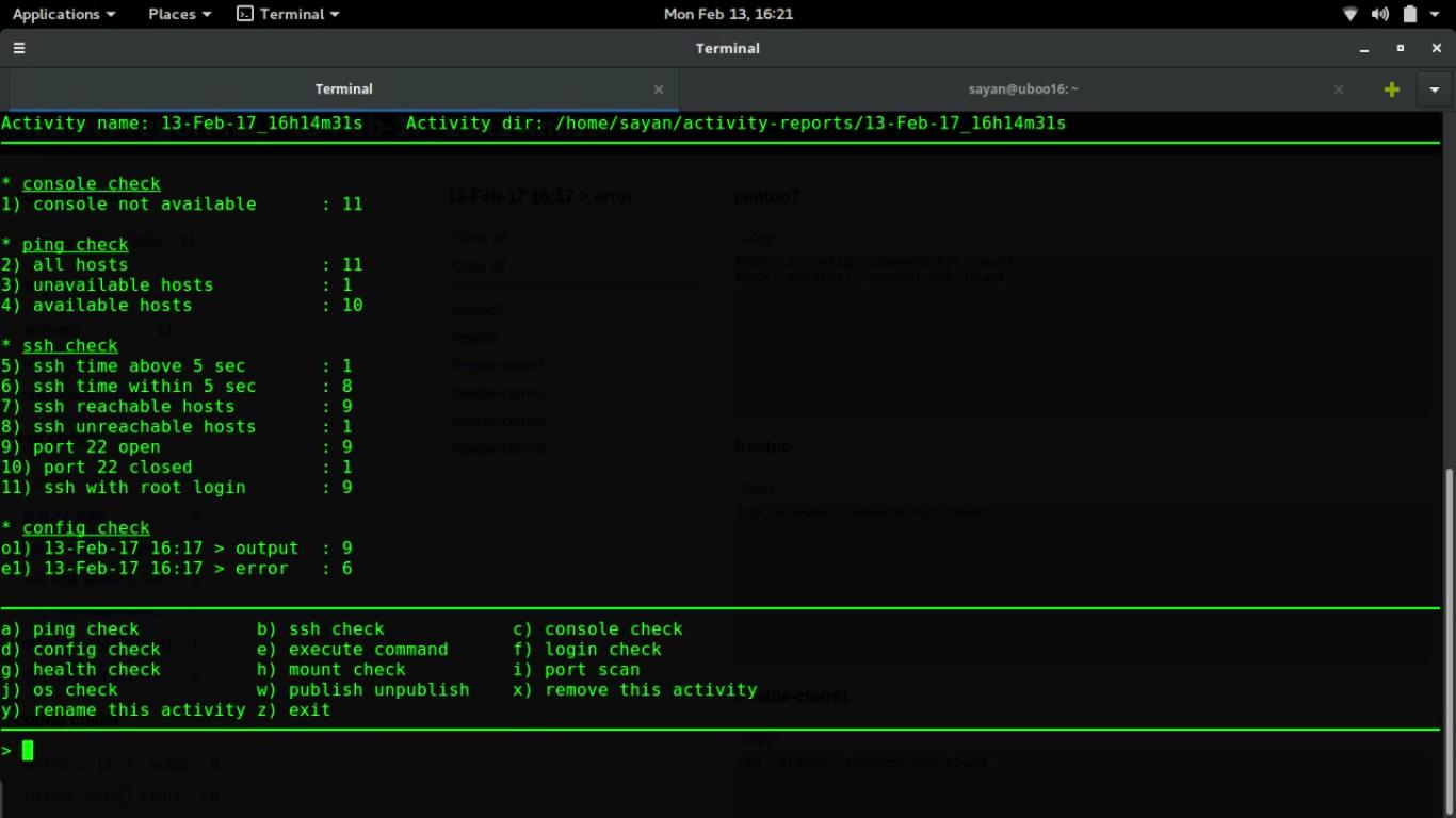 activity.sh command-line view view