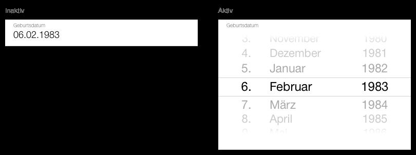 Darstellung Datepicker, inline