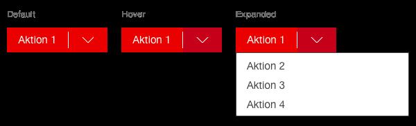 Darstellung der Komponente Button bei dem mehrere Aktionen hinterlegt sind
