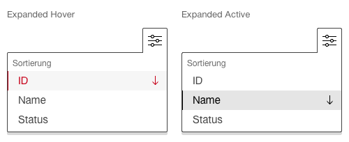 Darstellung der Komponente Kontextmenü zur Sortierung von Inhalten