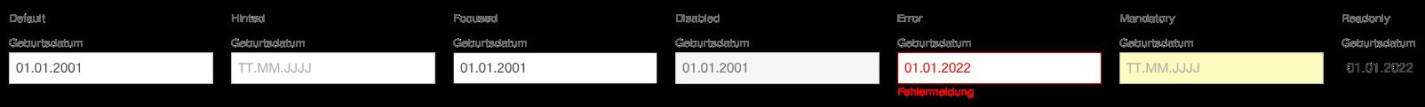 Darstellung der Komponente Datumsauswahl zur Eingabe eines Geburtstages