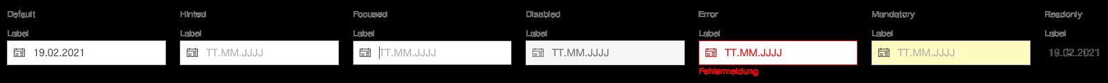 Darstellung der Komponente Datumsauswahl in der Standard Ausprägung