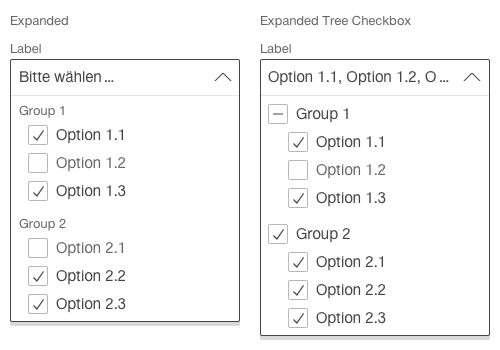 Darstellung der Komponente Select mit gruppierten Einträgen und Mehrfachauswahl
