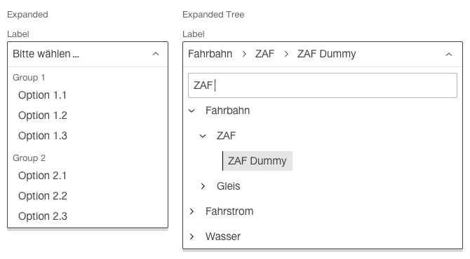 Image of the select component with grouped entries