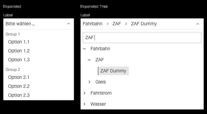 Darstellung der Komponente Select mit gruppierten Einträgen