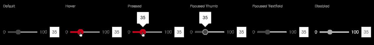 Darstellung der Komponente Slider in der Ausprägung kontinuierlich in horizontaler Ausrichtung