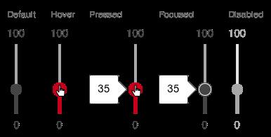 Darstellung der Komponente Slider in der Ausprägung kontinuierlich in vertikaler Ausrichtung
