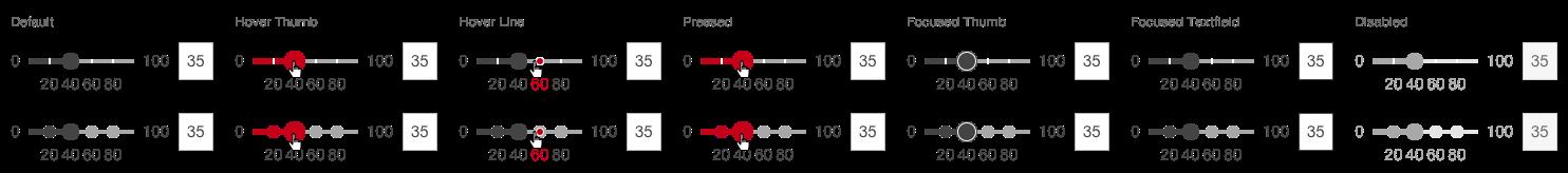 Darstellung der Komponente Slider in der Ausprägung diskret in horizontaler Ausrichtung