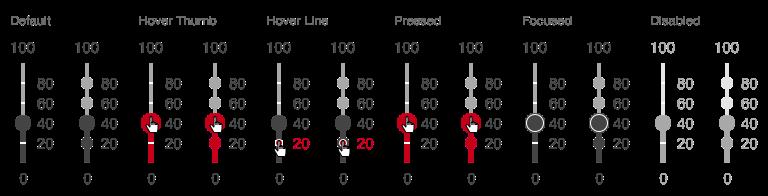 Darstellung der Komponente Slider in der Ausprägung diskret in vertikaler Ausrichtung