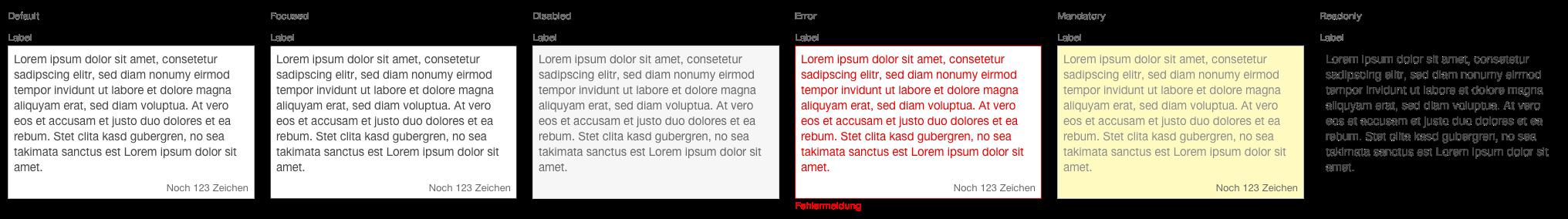 Darstellung der Komponente Textarea