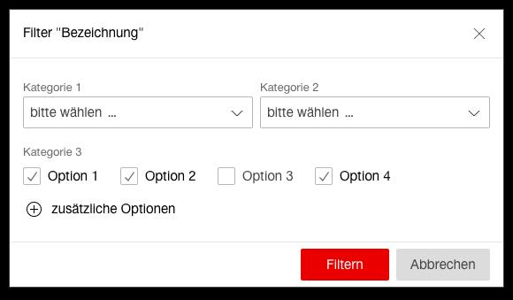 Darstellung eines Beispiels eines Filter Dialogs