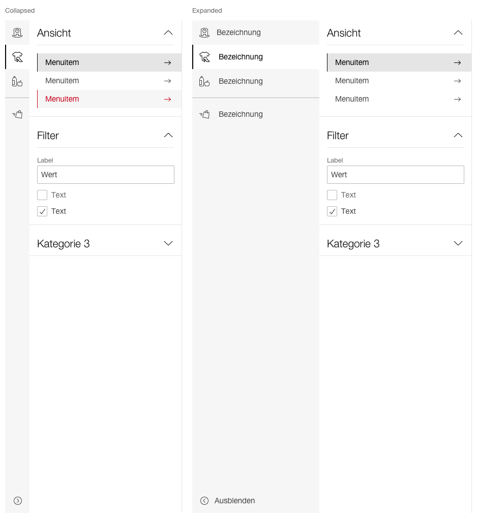 Display of the sidebar in the submenu version