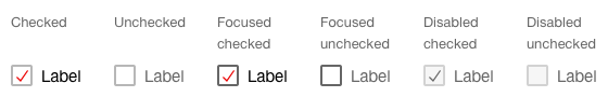 Darstellung der Komponente Checkbox in der Ausprägung Standard