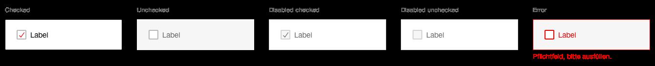 Darstellung der Komponente Checkboxpanel in der Ausprägung Standard