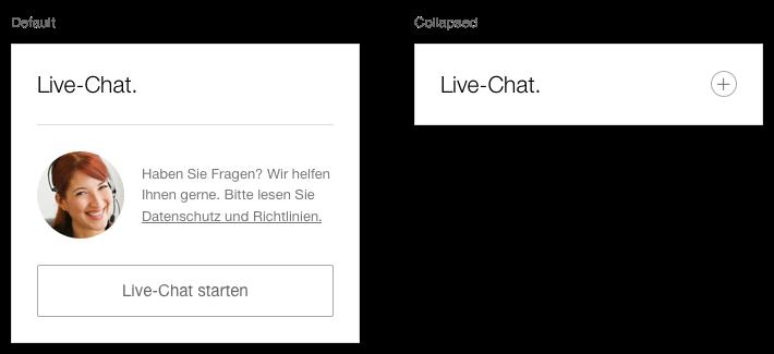 Darstellung der Komponente Next Best Click Container zum Starten des Live-Chat