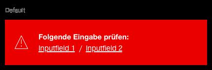 Darstellung der Komponente Notification zur Darstellung von Fehlermeldungen mit zusätzlichen Sprungmarken