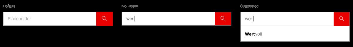 Darstellung der Komponente Suchfeld in der Ausprägung Standard