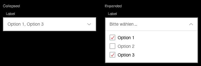 Darstellung der Komponente Select mit Mehrfachauswahl
