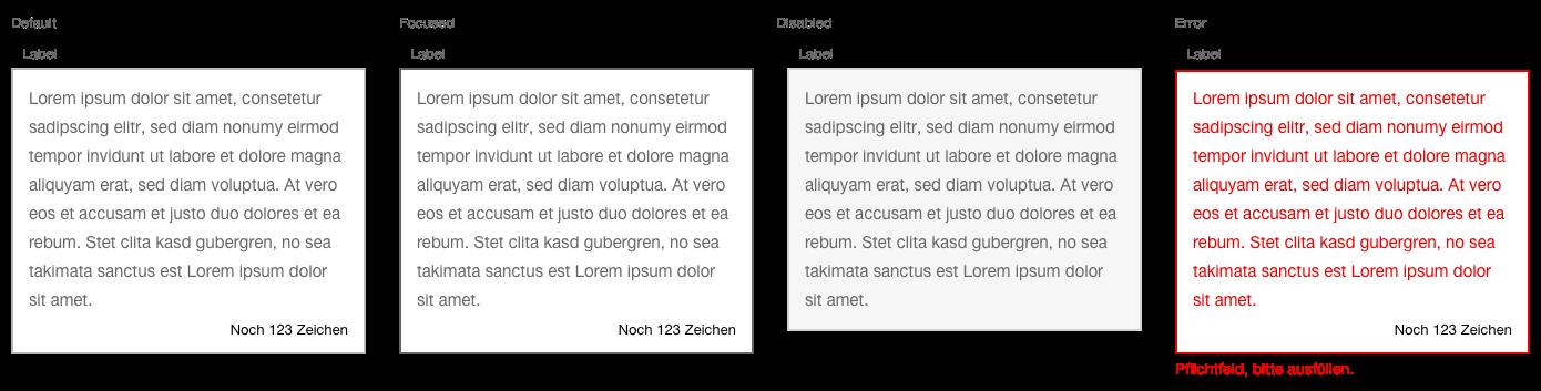 Darstellung der Komponente Textarea in der Ausprägung Standard