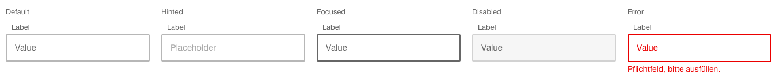 Darstellung der Komponente Eingabefeld Standard