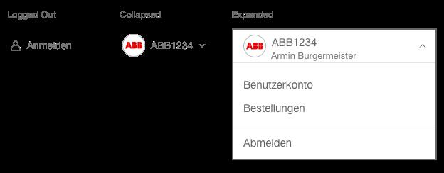 Darstellung der Komponente Benutzermenü mit zusätzlichem Text
