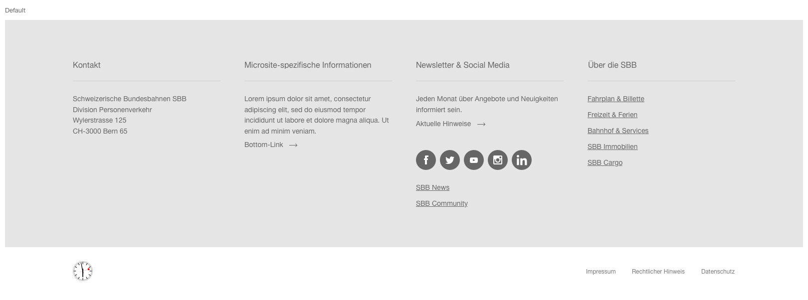 Image of the footer module for microsite with contact information