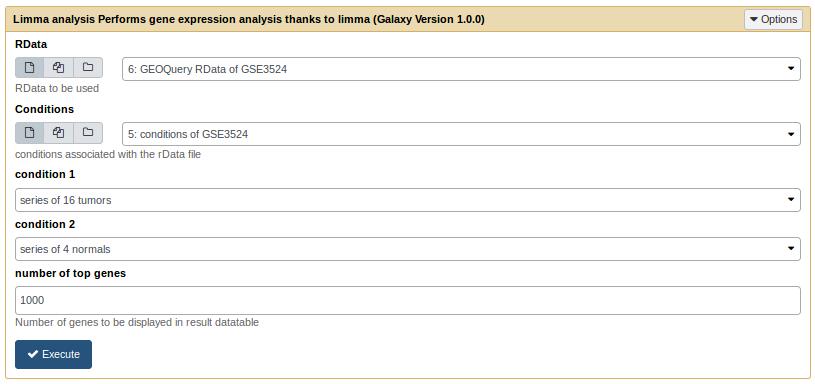 Limma analysis tool form