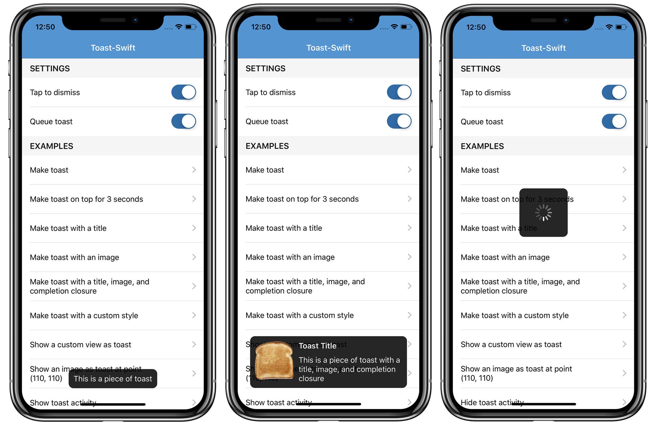 Toast-Swift Screenshots