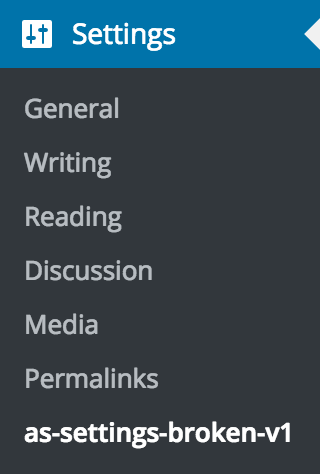 Subpage appearing in the Settings menu