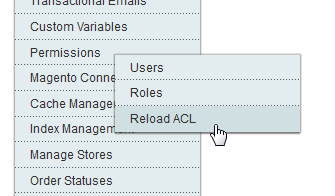 Screenshot Magento ACL Reload