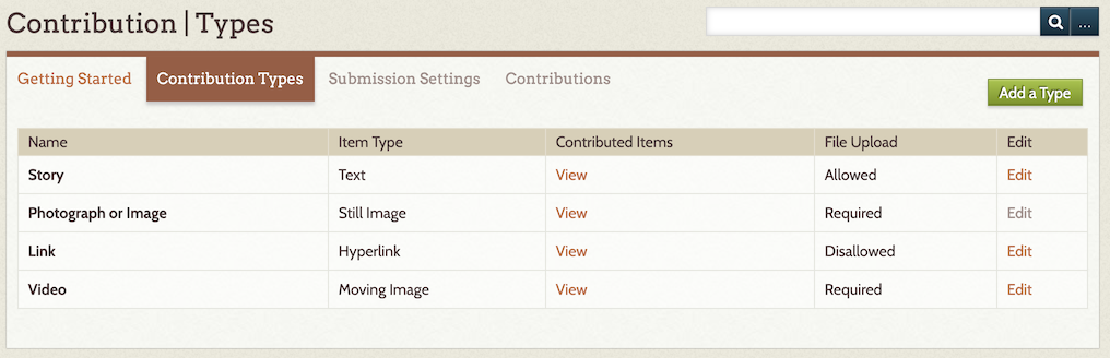 Screenshot of Contribution Types Admin