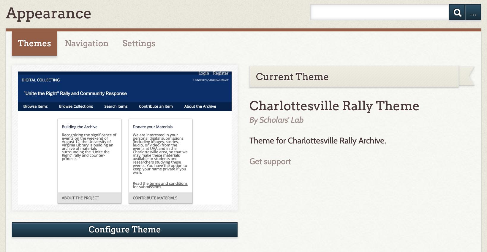 Screenshot of Omeka Theme Admin