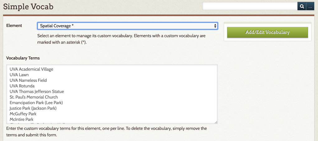 Screenshot of Simple Vocab page in Omeka
