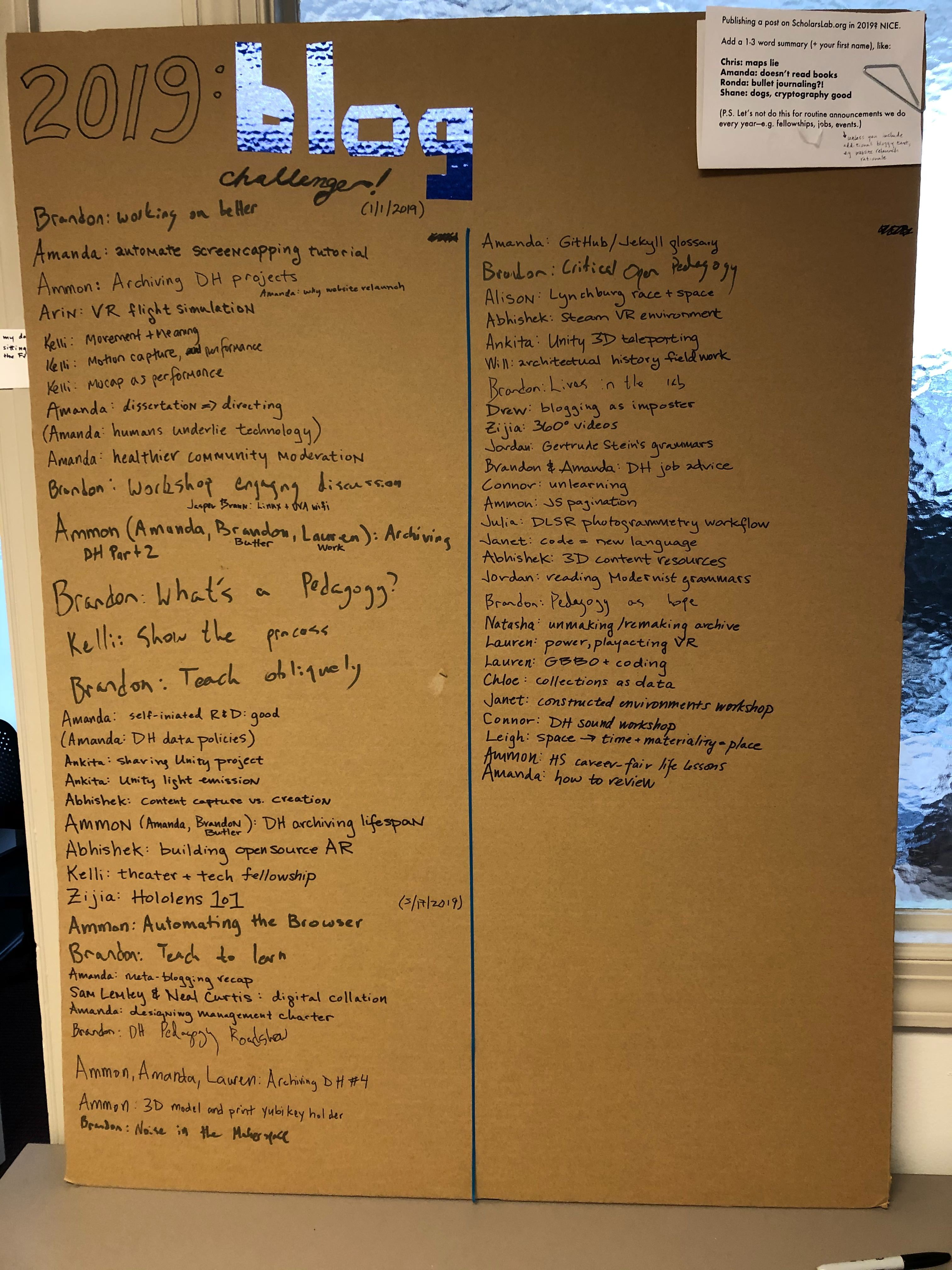 Large cardboard poster listing the authors of posts and a 3-word summary of the post content, for all essay blog posts published in 2019 on the Scholars' Lab blog