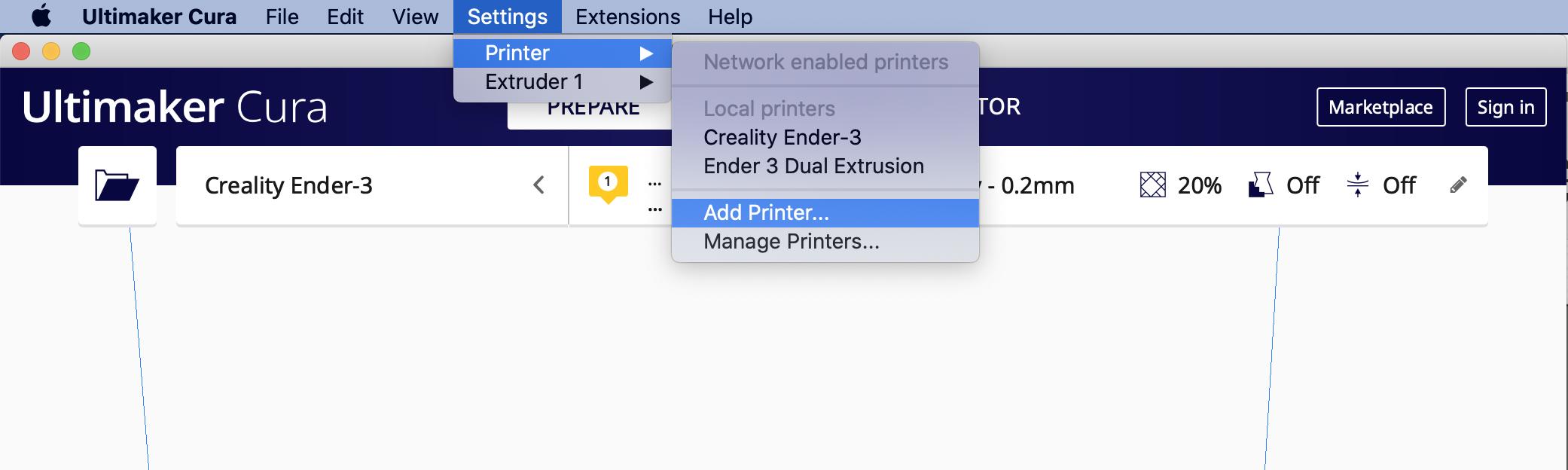Cura add printer