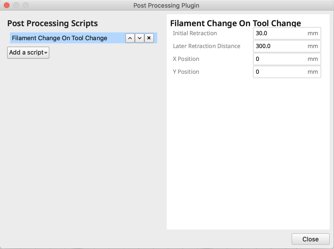 Filament Change on Tool Change