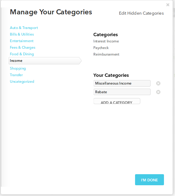 Visible categories