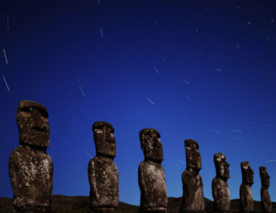 Easter Island stone statues under the stars, a metaphor for the human predicament
