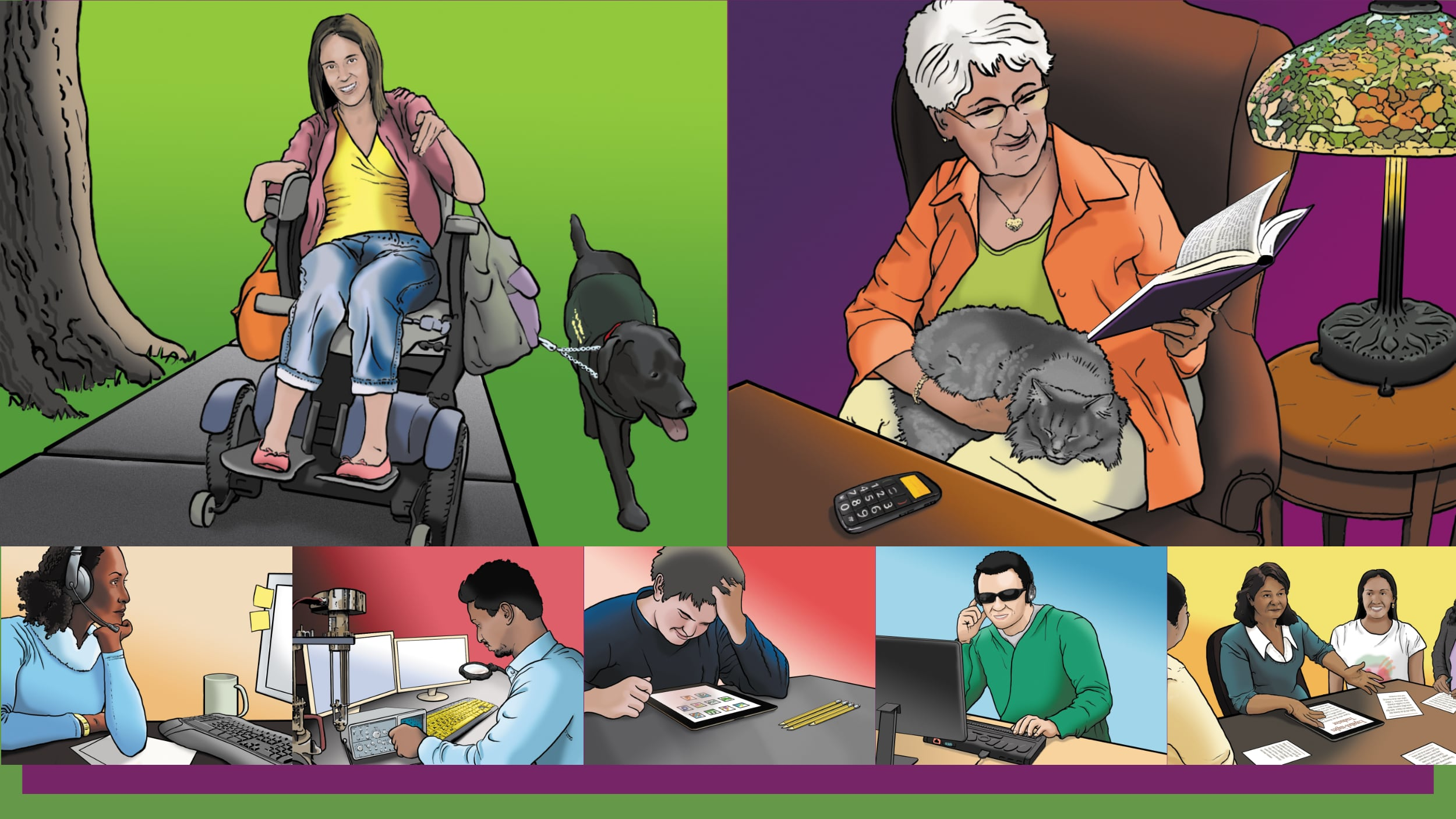 Illustration of users with variety of disablities