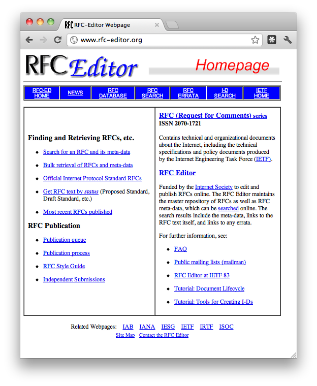 screenshot of the RFC Editor