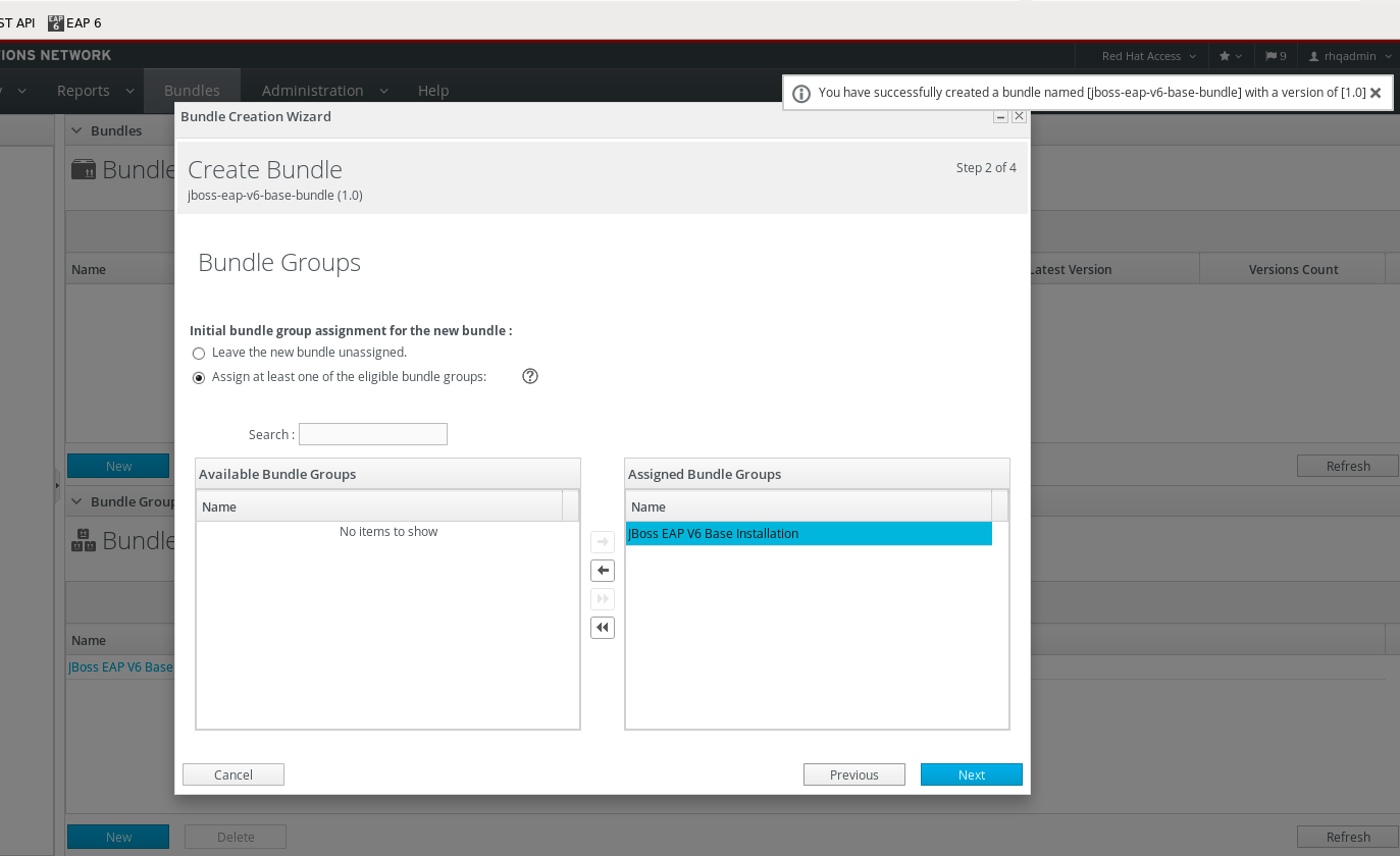 Create Bundle - Assign Bundle Group