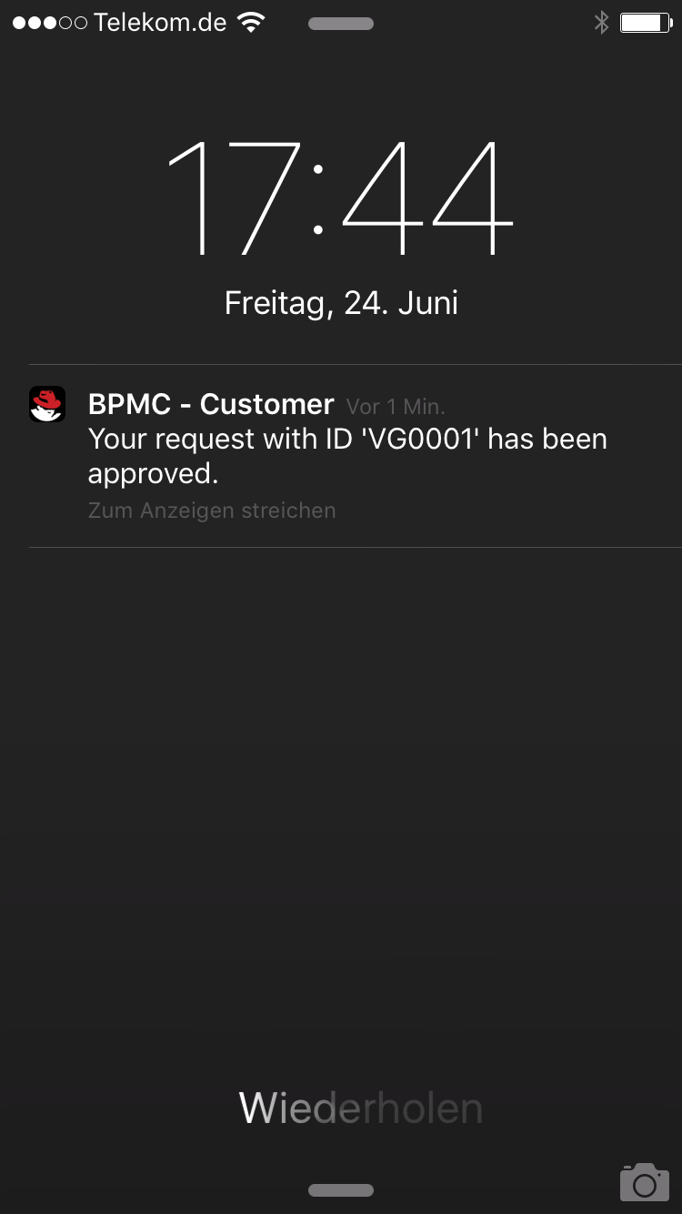 Customer App - Push notification on process status