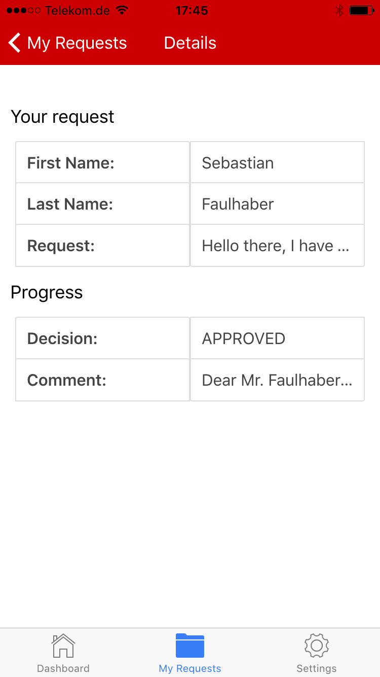 Customer App - View process status