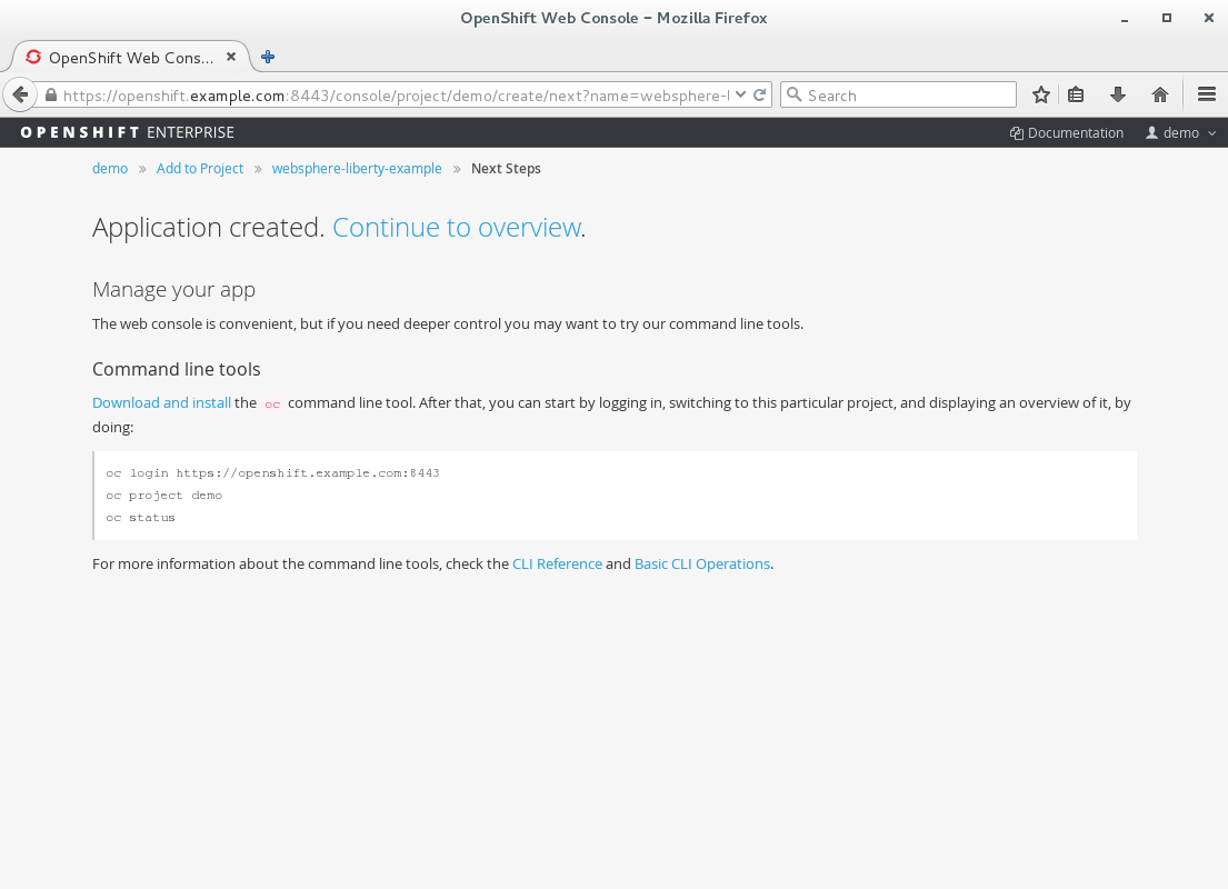3. Application artifacts successfully created